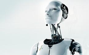 Wallpaper white, face, robot