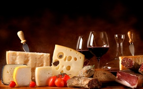 Picture wine, cheese, glasses, bread, meat, pitcher, tomatoes