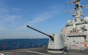 Picture wallpaper, gun, sky, military, weapon, cloud, warship, ship, destroyer, cannon, training, navy, US Navy, squadron, …