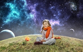 Picture space, rose, planet, girl, scarf, child