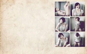 Picture pose, smile, collage, Girl, laughter, chair, brunette