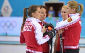 Picture Russia, Curling, Sochi 2014, The XXII Winter Olympic Games, women's team, Ekaterina Galkina, Alexandra Saitova, …
