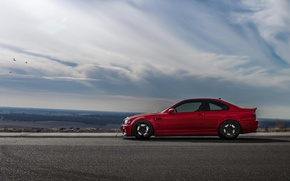 Picture road, BMW, red, red, E46