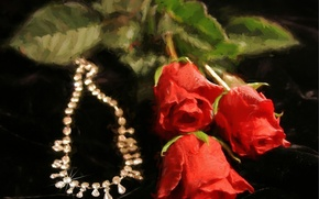 Picture flowers, roses, necklace, art