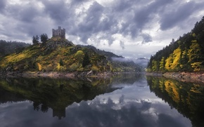Picture clouds, trees, fog, lake, reflection, castle, France, mirror, rainy, Alleuze