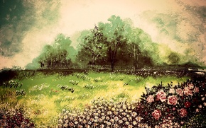 Picture trees, landscape, the wind, figure, roses, chamomile, picture, art