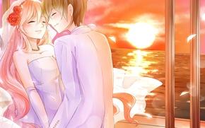 Wallpaper sea, girl, joy, sunset, flowers, emotions, the wind, pair, guy, the bride, veil