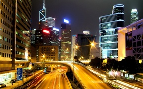 Picture road, night, lights, Hong Kong, skyscrapers