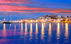 Picture sea, sunset, lights, shore, home, yachts, lights, Spain, piers, Ibiza, Eivissa