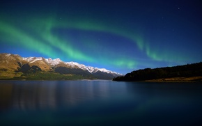 Picture lake, lights, the evening, new Zealand, Lake Wakatipu