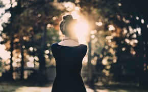 Picture girl, the sun, back, bokeh