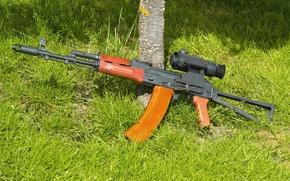 Picture grass, machine, Kalashnikov, sight, The AKS-74
