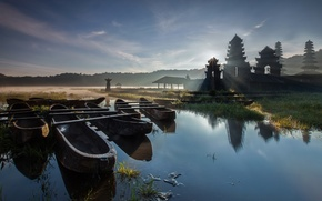 Picture water, trees, fog, lake, boat, morning, Asia, pagoda