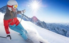Picture girl, the sun, snow, joy, ski