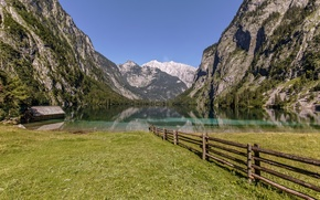 Picture mountains, lake, the fence, Germany, Bayern, Germany, Bavaria, fence, Bavarian Alps, The Bavarian Alps, Königssee …