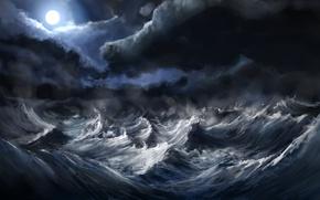 Wallpaper sea, wave, storm, the moon, alexlinde (devart)