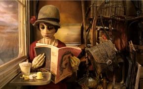 Picture girl, cartoon, hat, window, bag, journal, brown, effect it, Madame tutli-putli