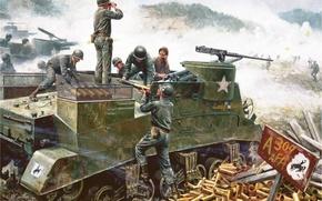 "Picture figure, art, American, South Korea, M. Kunstler., firing position, Hongchon, May 18, 1951, M7 ""Priest"", …"