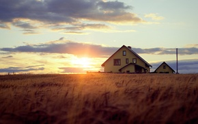 Wallpaper rays, light, trees, bokeh, the evening, house, the sun, the sky, grass, clouds, sunset