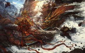 Picture fantasy, magic, dragon, art, battle, Zhichao Cai