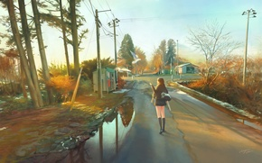 Wallpaper road, girl, posts, wire, home, anime, art, form, schoolgirl, chingi