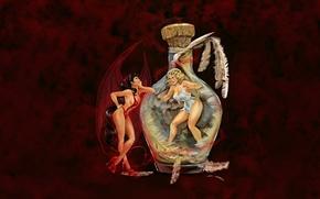 Picture girls, angel, devil, devil