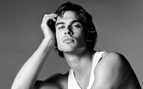 Picture look, Mike, black and white, the series, guy, actor, the vampire diaries, ian somerhalder, damon, ...