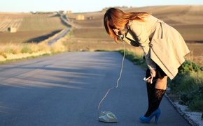 Picture road, girl, the situation, phone