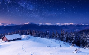 Picture house, night, mountains, stars, trees, forest