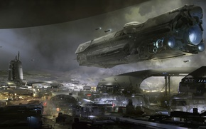 Picture wallpaper, Halo, ship, artwork, UNSC frigate