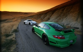 Wallpaper sunset, Porsche, GT-3