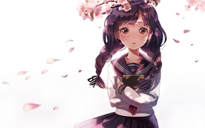 Picture girl, flowers, branch, anime, petals, Sakura, art, book, braids, form, schoolgirl, sheep sleep