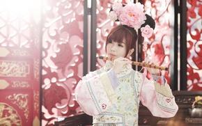 Wallpaper girl, face, style, Asian, Dudka