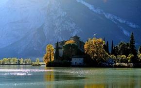 Picture autumn, trees, mountains, river, castle, Nature, Italy, river, trees, landscape, Italy, nature, autumn, mountain, lake, …