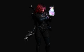 Picture the dark background, weapons, magic, Girl, costume