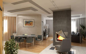 Picture design, style, interior, fireplace, living space