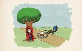 Wallpaper wolf, tale, little red riding hood