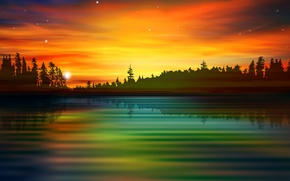 Picture forest, the sky, clouds, landscape, sunset, nature, lake, river, silhouette