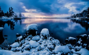 Picture winter, the sky, water, snow, nature, stones, the evening, Stockholm, Sweden, Sweden, Stockholm