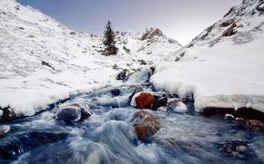 Picture river, nature, winter, frozen, scene, Icy
