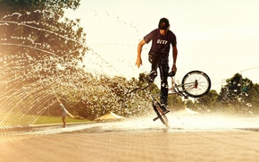 Wallpaper the trick, water, bmx, background, summer, the sun, squirt