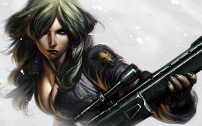 Picture snow, Girl, sniper, rifle