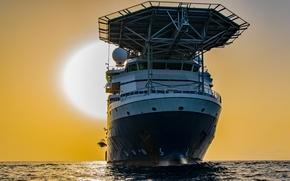 Picture sea, the sun, dawn, ship