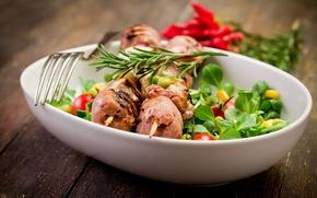 Picture plug, meat, kebab, plate, dish