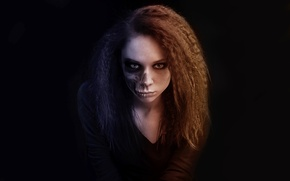 Picture look, girl, character, death, skull, portrait