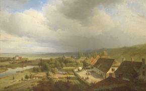 Picture house, river, picture, yard, Abraham Johannes Couwenberg, Hilly Landscape in Wageningen