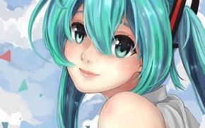 Wallpaper hatsune miku, art, smile, face, hair, girl, vocaloid, clouds, suppakarn prakobkij