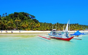 Picture sand, sea, the sky, palm trees, shore, boat, island