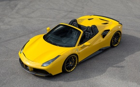 Picture car, auto, tuning, Ferrari, yellow, nice, Spider, Rosso, Novitec, 488, novitek