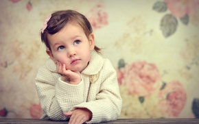 Picture look, child, widescreen, sadness, HD wallpapers, Wallpaper, girl, child, mood, full screen, background, fullscreen, girl, ...